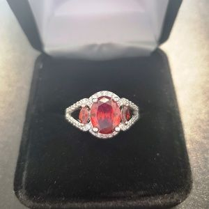 Jewelry - Three Stone Garnet and Swarovski Ring
